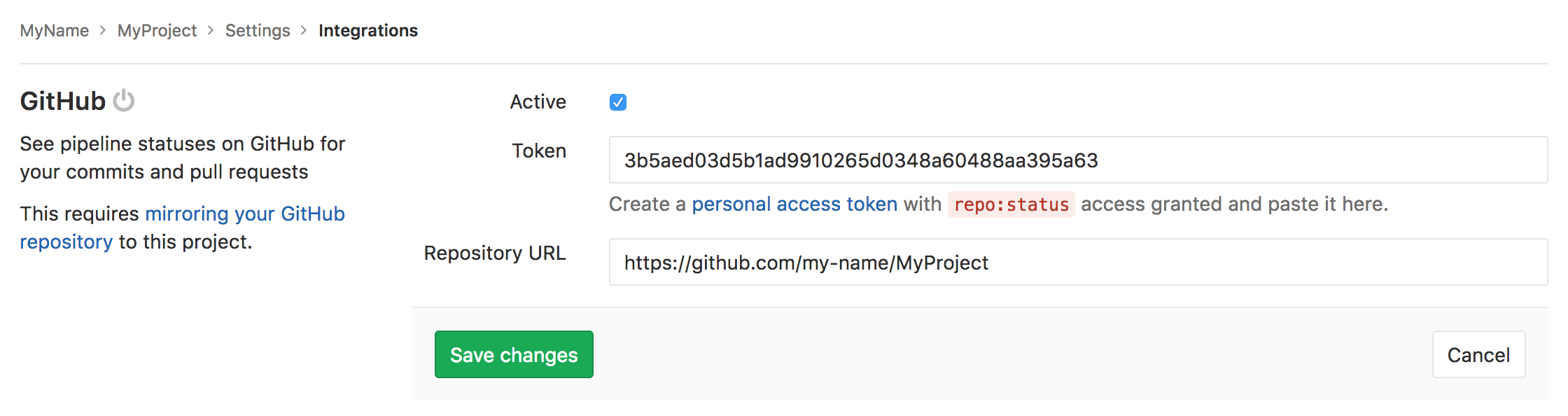 Github · Integrations · Project · User · Help · GitLab